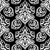 Ethnic seamless pattern. Ethnic seamless pattern in black and white colors. Boho style vector illustration. Oriental decorative elements. Abstract background Royalty Free Stock Image