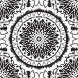 Ethnic seamless pattern. Black and white moroccan ethnic pattern. Seamless pattern with abstract arabesque, mandala, sun, star Stock Photography