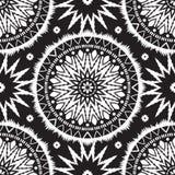 Ethnic seamless pattern. Black and white moroccan ethnic pattern. Seamless pattern with abstract arabesque, mandala, sun, star Royalty Free Stock Photos