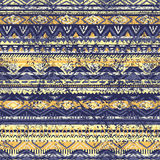 Ethnic seamless pattern. Blue and yellow color. Grunge. Vector illustration handmade Royalty Free Stock Photography