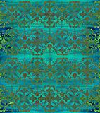 Ethnic seamless pattern. Boho green ornament. Repeating background. Tribal, aboriginal art print. Fabric, cloth design, wallpaper, wrapping Watercolor and Hand Stock Photo