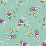 Ethnic seamless pattern with feather and arrow Royalty Free Stock Image