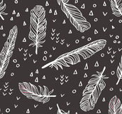 Ethnic seamless pattern with Feathers and chaotic dots and triangles. Vector illustration vector illustration