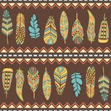 Ethnic seamless pattern with feathers Stock Photos