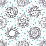 Ethnic seamless pattern with floral ornament Stock Image