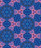 Ethnic seamless pattern with flowers and paisley in pink and blue tones Royalty Free Stock Images