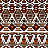 Ethnic seamless pattern. Geometric ornament painted by hand. Bla. Ck, white and orange colors. Tribal motifs Stock Photography