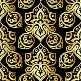 Ethnic seamless pattern in gold and black colors. Abstract background. Oriental decorative elements. Boho style  illustration Stock Image