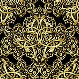 Ethnic seamless pattern in gold and black colors Royalty Free Stock Photography