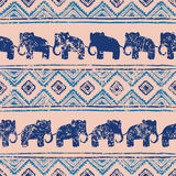 Ethnic seamless pattern. Horizontal stripes and elephants Royalty Free Stock Images