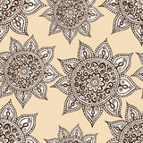 Ethnic seamless pattern with mandala and paisley. Stock Photo