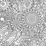 Ethnic seamless pattern. With mandalas, flowers and leaves. Doodles floral black and white ornament. Perfect for wallpaper, adult coloring books, web page Stock Image