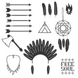 Ethnic seamless pattern in native style. Arrows, Indian elements, Aztec borders and embellishments Royalty Free Stock Photo