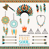 Ethnic seamless pattern in native style. Arrows, Indian elements, Aztec borders and embellishments Stock Photos
