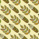 Ethnic seamless pattern with ornamental colorful stylized leaves. Endless texture, template for fabric, textile Stock Images