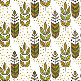 Ethnic seamless pattern with ornamental colorful stylized leaves tree. Endless texture, template for fabric, textile Stock Photography