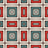 Ethnic seamless pattern with repeated squares. Retro colors ornamental abstract background. Geometric motif. Ethnic style seamless pattern with repeated squares Stock Photography