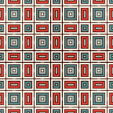 Ethnic seamless pattern with repeated squares. Retro colors ornamental abstract background. Geometric motif. Ethnic style seamless pattern with repeated squares Royalty Free Stock Photos