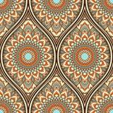Ethnic seamless pattern. Seamless pattern with ethnic mandala ornament. Hand drawn vector illustration Royalty Free Stock Photo