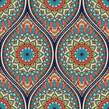 Ethnic seamless pattern. Seamless pattern with ethnic mandala ornament. Hand drawn vector illustration Royalty Free Stock Image