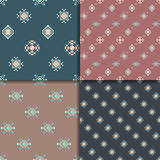 Ethnic seamless pattern set. Geometric seamless pattern set. Aztec abstract backgrounds. Ethnic vector ornaments Stock Photos