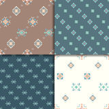 Ethnic seamless pattern set. Geometric seamless pattern set. Aztec abstract backgrounds. Ethnic vector ornaments stock illustration