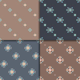 Ethnic seamless pattern set. Geometric seamless pattern set. Aztec abstract backgrounds. Ethnic vector ornaments Royalty Free Stock Photos