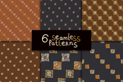 Ethnic seamless pattern set. Geometric hand drawn tribal seamless pattern set. Brown checkered abstract backgrounds. Ethnic vector ornaments Stock Image