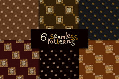 Ethnic seamless pattern set. Geometric hand drawn tribal seamless pattern set. Brown checkered abstract backgrounds. Ethnic vector ornaments vector illustration