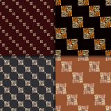Ethnic seamless pattern set. Geometric hand drawn tribal seamless pattern set. Brown checkered abstract backgrounds. Ethnic vector ornaments royalty free illustration