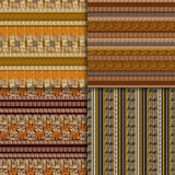 Ethnic seamless pattern set. Geometric hand drawn tribal seamless pattern set. Brown striped abstract backgrounds. Ethnic vector ornaments Royalty Free Stock Images