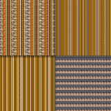 Ethnic seamless pattern set. Geometric hand drawn tribal seamless pattern set. Brown striped abstract backgrounds. Ethnic vector ornaments Royalty Free Stock Photography