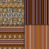 Ethnic seamless pattern set. Geometric hand drawn tribal seamless pattern set. Brown striped abstract backgrounds. Ethnic vector ornaments Royalty Free Stock Photos