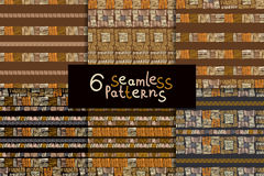 Ethnic seamless pattern set. Geometric hand drawn tribal seamless pattern set. Brown striped abstract backgrounds. Ethnic vector ornaments stock illustration