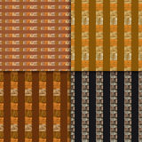 Ethnic seamless pattern set. Geometric hand drawn tribal seamless pattern set. Brown striped abstract backgrounds. Ethnic vector ornaments Stock Image