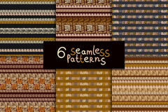 Ethnic seamless pattern set. Geometric hand drawn tribal seamless pattern set. Brown striped abstract backgrounds. Ethnic vector ornaments Stock Photo