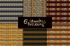 Ethnic seamless pattern set. Geometric hand drawn tribal seamless pattern set. Brown striped abstract backgrounds. Ethnic vector ornaments Stock Photos
