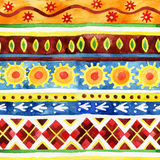 Ethnic seamless pattern. Watercolor ethnic seamless pattern. Hand painted background Royalty Free Stock Photography