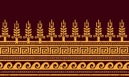 Ethnic seamless pattern. Wheat, meander, and water symbols. Royalty Free Stock Photos