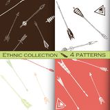 Ethnic seamless patterns collection, tribal vector patterns for design, boho patterns set.  Stock Image