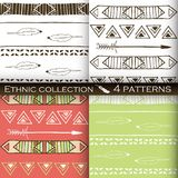 Ethnic seamless patterns collection, tribal vector patterns for design, boho patterns set.  Stock Photography