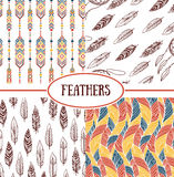 Ethnic seamless patterns. With Feathers Stock Photography