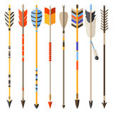 Ethnic set of indian arrows in native style Stock Images