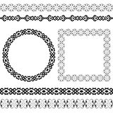 Ethnic set of the most popular round and square frames and dividers Royalty Free Stock Images