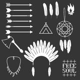 Ethnic set in native style. Arrows, Indian elements, Aztec borders and embellishments Royalty Free Stock Images