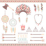 Ethnic set in native style. Arrows, Indian elements, Aztec borders and embellishments Stock Photo