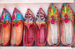 Ethnic shoes. Colorful ethnic shoes at Anjuna flea market in Goa, India stock image