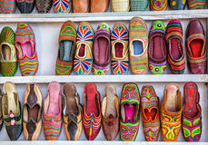 Ethnic shoes. Colorful ethnic shoes at Anjuna flea market in Goa, India Royalty Free Stock Images
