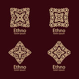 Ethnic signs and design elements. In beige color on dark background. Vector illustration. Can use for logo and icon design Stock Photography