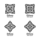 Ethnic signs and design elements in black color on white background. Vector illustration. Can use for logo and icon design Royalty Free Stock Image